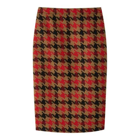 Pure Collection Camel Giant Dogtooth Wool Pencil Skirt