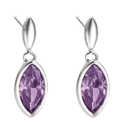 Fiorelli Silver Purple CZ Drop Earrings