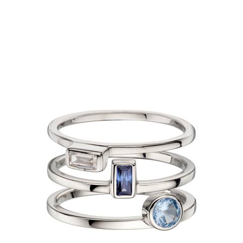 Fiorelli Silver Blue Cz Stacking Rings