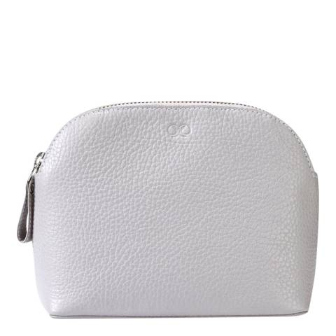 Pure Collection Pale Grey Leather Cosmetic Bag