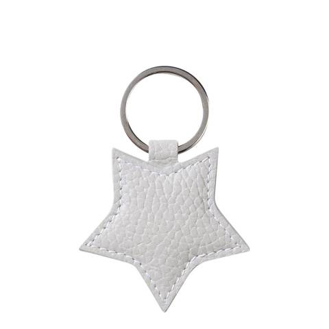 Pure Collection Pale Grey Leather Star Keyring