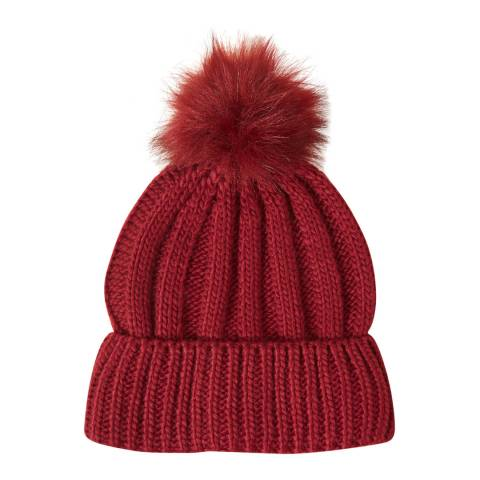 French Connection Baked Cherry Faux Fur Pom Beanie Hat