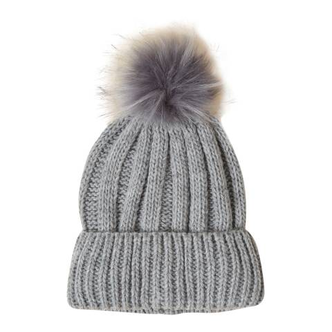 French Connection Grey Faux Fur Pom Beanie Hat