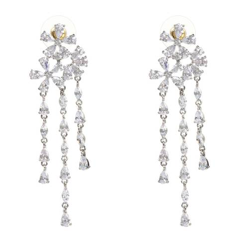 Amrita Singh Silver Floral Raindrop Earrings
