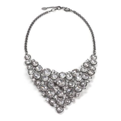 Amrita Singh Gunmetal/Clear Bib Necklace