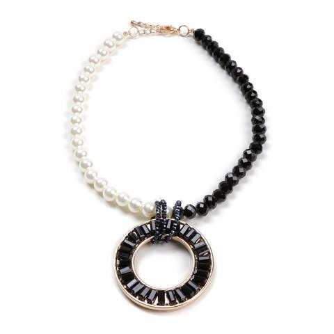 Amrita Singh Black Circle Pendant Pearl Necklace