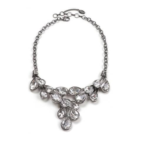 Amrita Singh Gunmetal/Clear Cascading Teardrop Necklace