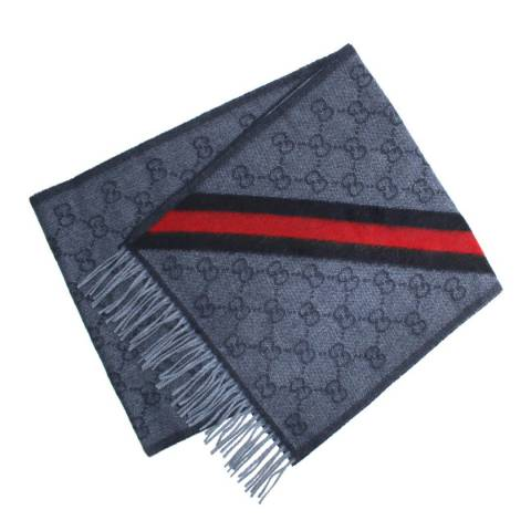 Gucci Unisex Gucci Blue/Red Stripe Wool Scarf