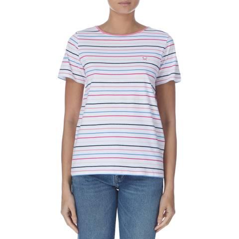 Crew Clothing Pink/Blue/White Short Sleeve Multi Stripe T-shirt