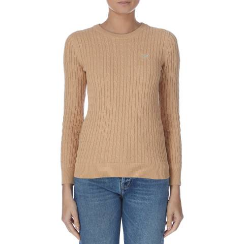 Crew Clothing Beige Cotton Cable Crew Jumper