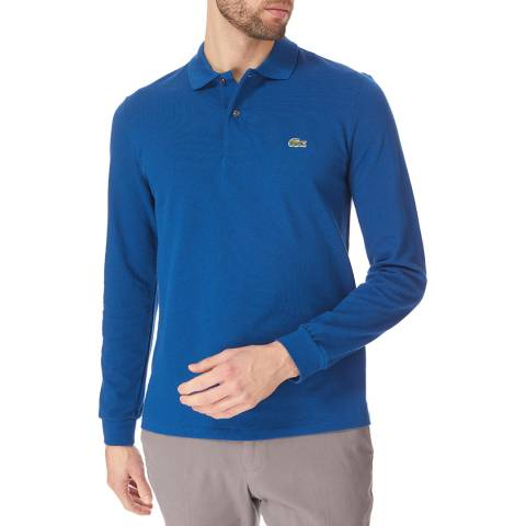 Lacoste Blue Long Sleeve Cotton Polo Shirt