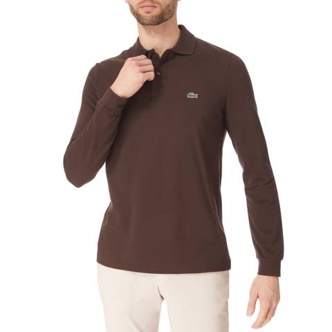 Lacoste Brown Long Sleeve Classic Cotton Polo Shirt