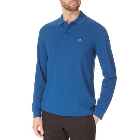 Lacoste Blue Marl Long Sleeve Cotton Polo Shirt