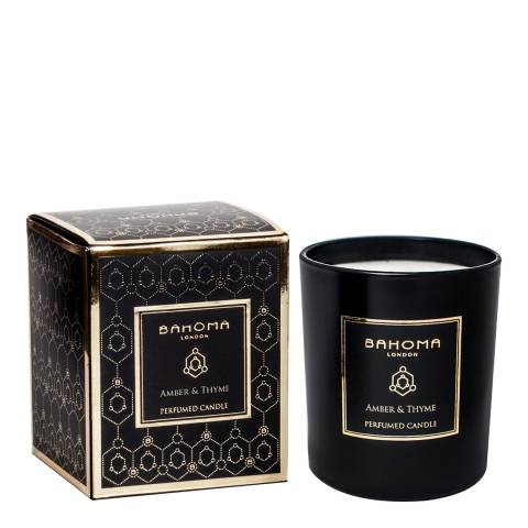 Bahoma Obsidian Black Collection Amber & Thme Candle 220g