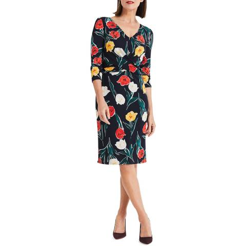 Phase Eight Navy Floral Printed Nicole  Dress