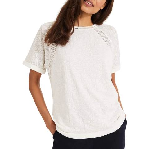 Phase Eight White Liza Lace Trim Top