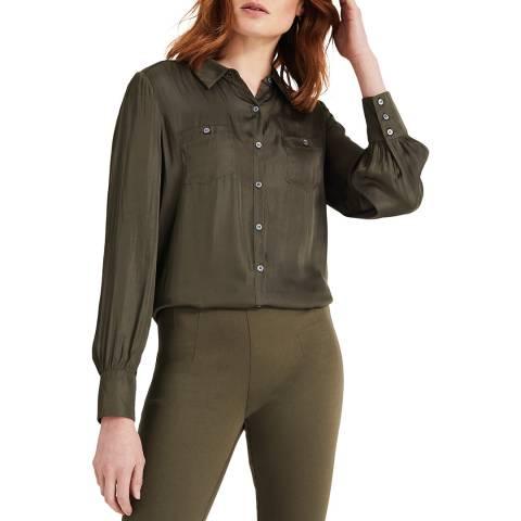 Phase Eight Khaki Satin Tatiana Shirt