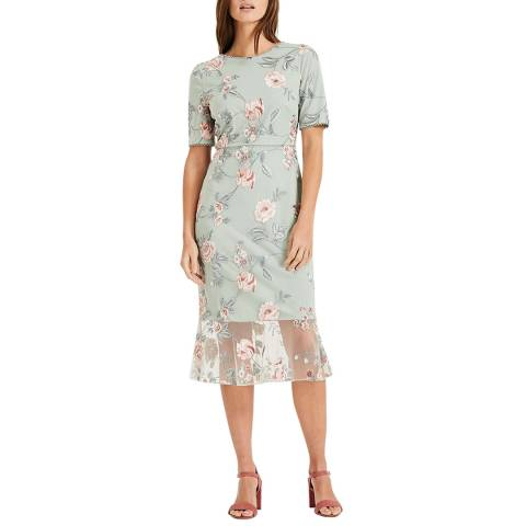 Phase Eight Mint Floral Embroidered Alissa  Dress