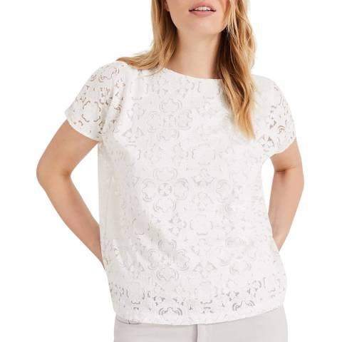 Phase Eight White Paulette Pattern Top