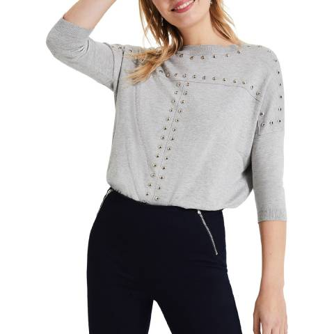 Phase Eight Grey Serena Stud Knit Top