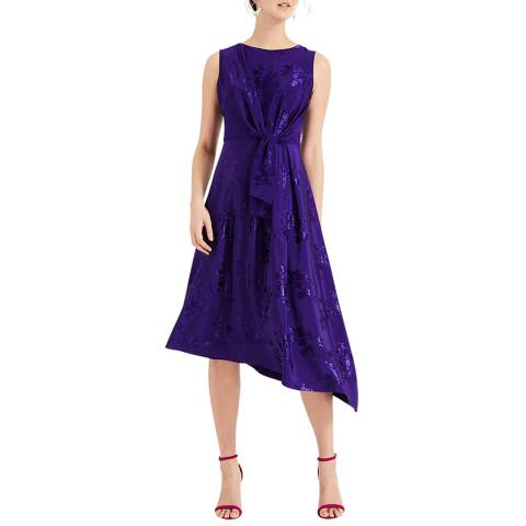 Phase Eight Purple Layla Jacquard Dress