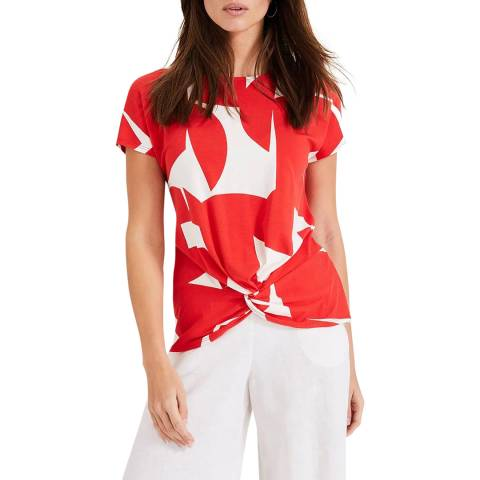 Phase Eight Red/Ivory Gretchen Print Top
