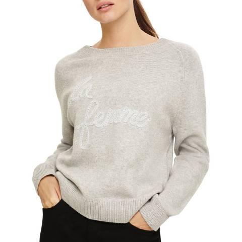 Phase Eight La Femme Logo Knit Grey Marl