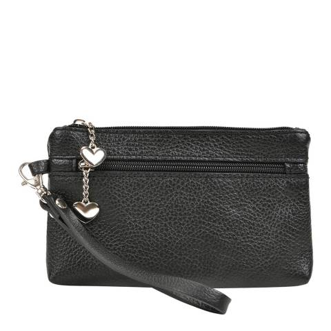 Luisa Vannini Black Leather Clutch