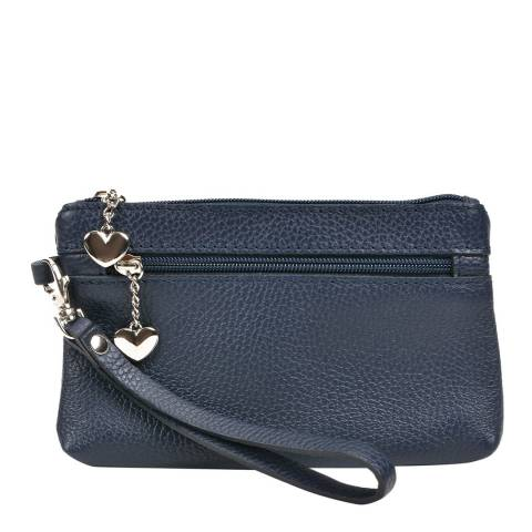 Luisa Vannini Navy Leather Clucth