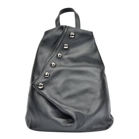 Luisa Vannini Black Leather Backpack