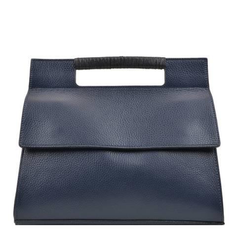 Carla Ferreri Navy Leather Top Handle Bag