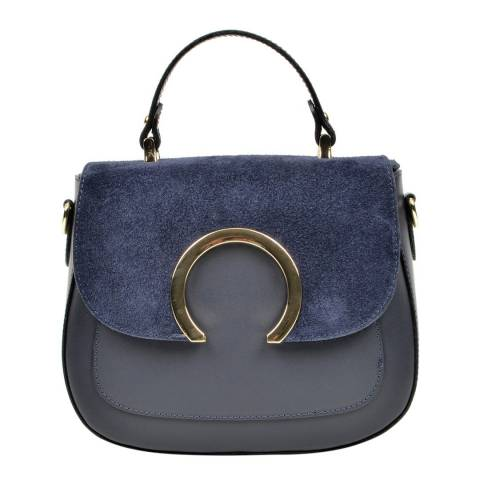 Luisa Vannini Navy Leather Crossbody Bag
