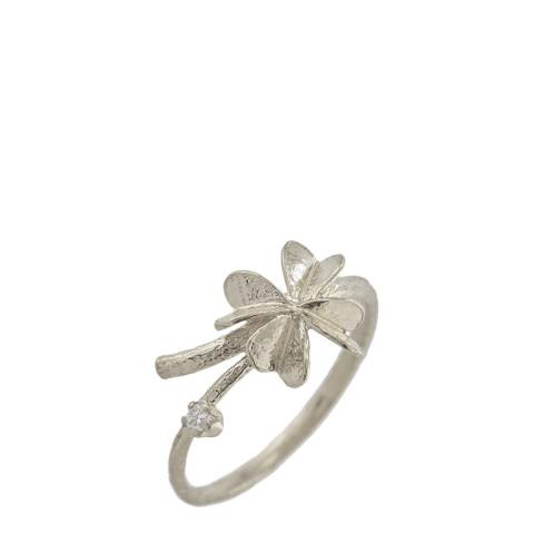 Alex Monroe Sterling Silver Clover Ring with Diamond