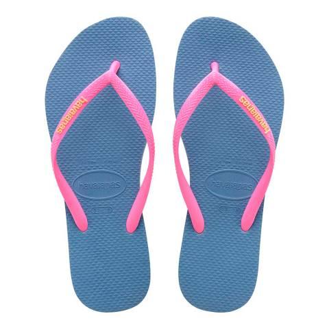 Havaianas Blue & Pink Slim Logo Flip Flop