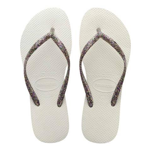 Havaianas White & Silver Slim Glitter Flip Flop