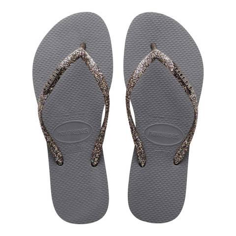 Havaianas Steel Grey & Graphite Slim Glitter Flip Flop