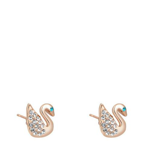 Ma Petite Amie Rose Gold Swan Earrings with Swarovski Crystals