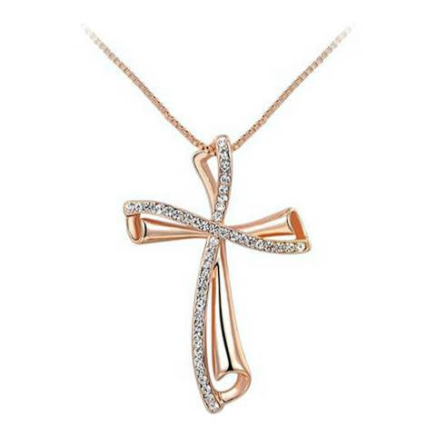 Ma Petite Amie Rose Gold Plated Elegant Necklace with Swarovski Crystals
