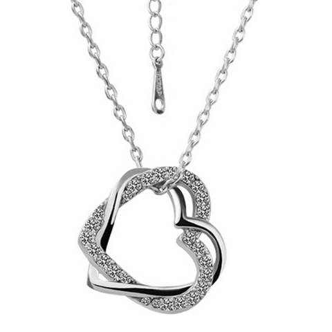 Ma Petite Amie Silver Plated Heart-Shaped Necklace