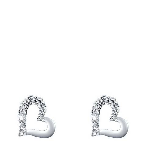 Ma Petite Amie Silver Heart Stud Earrings with Swarovski Crystals