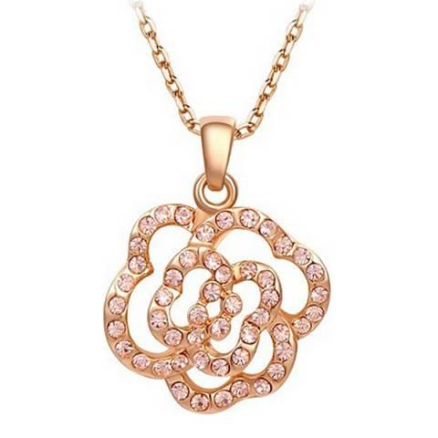 Ma Petite Amie Citrine Flower Petal Necklace with Swarovski Crystals
