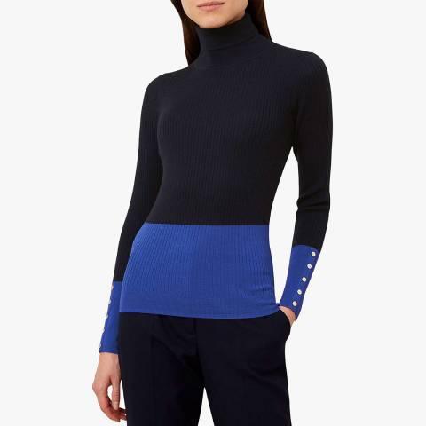 Hobbs London Navy Wool Lara Roll Neck Jumper
