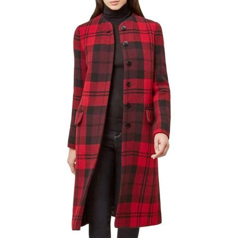 Hobbs London Red/Black Check Lavinia Coat