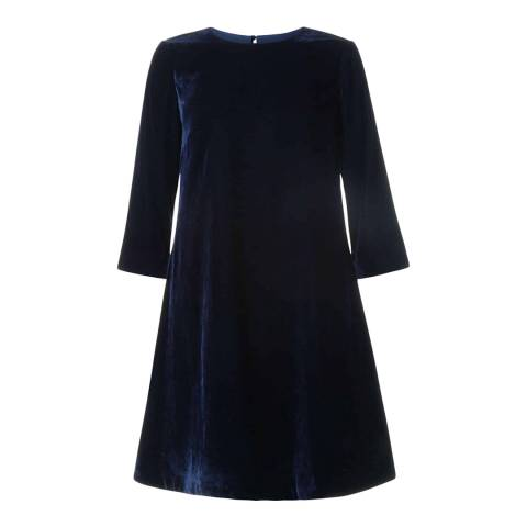 Hobbs London Navy Velvet Agnes Dress