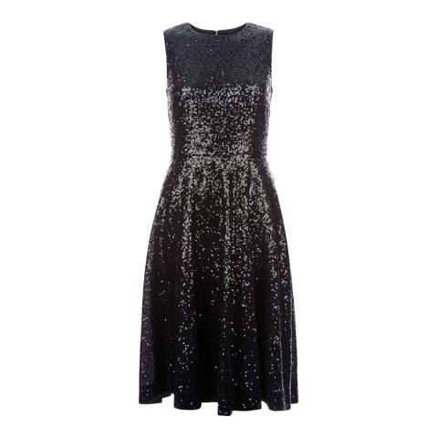 Hobbs London Blue/Black Sequin Robin Dress