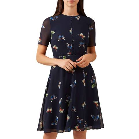 Hobbs London Navy Butterfly Cecily Dress