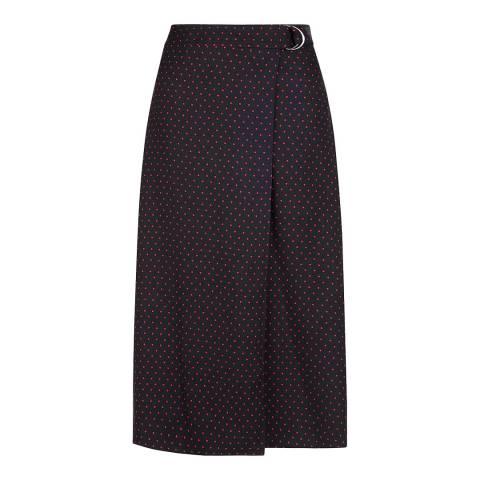 Hobbs London Navy Spot Carmel Skirt