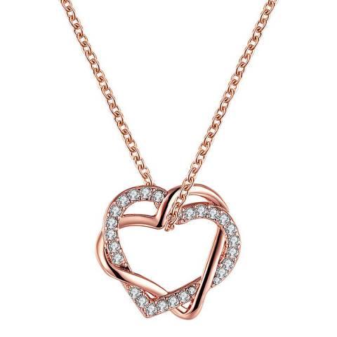 Ma Petite Amie Swarovski Rose Gold Heart-Shaped Necklace