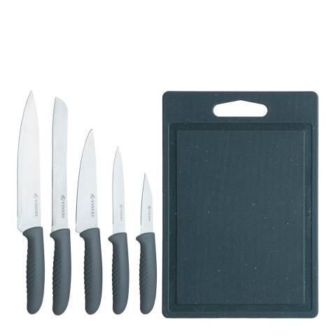 Viners 5 Piece Speckle Knife Set with Chopping Board