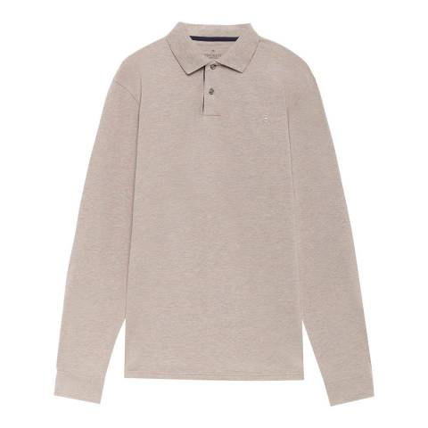Hackett London Brown Fine Tipping Long Sleeve Polo Top